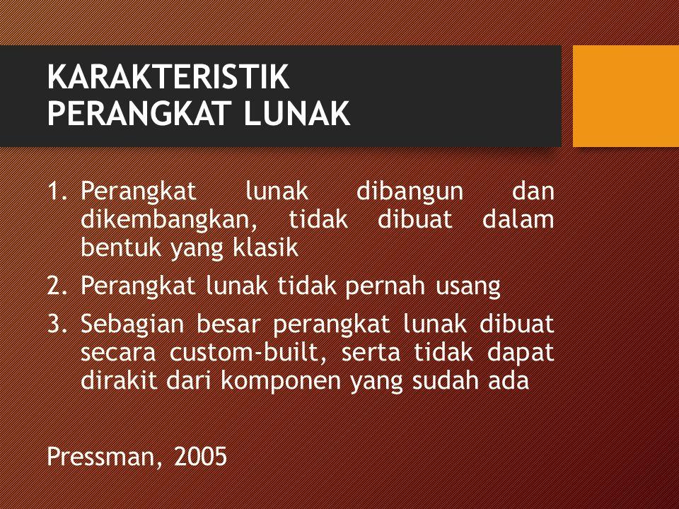 KARAKTERISTIK PERANGKAT LUNAK 1.Perangkat lunak dibangun dan dikembangkan, tidak dibuat dalam bentuk yang klasik 2.Perangkat lunak tidak pernah usang