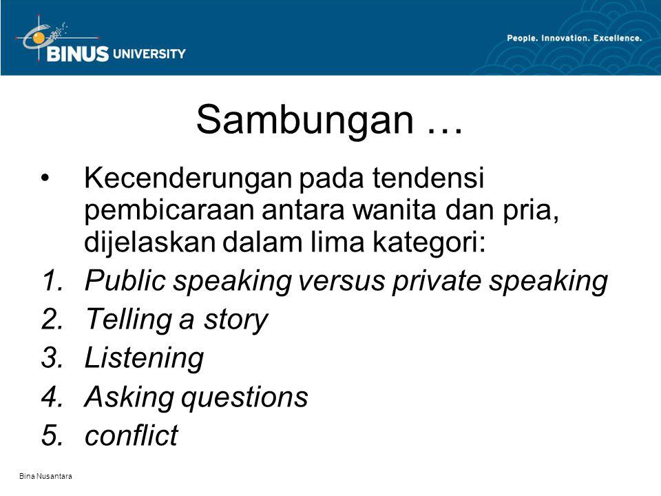Bina Nusantara Sambungan … Kecenderungan pada tendensi pembicaraan antara wanita dan pria, dijelaskan dalam lima kategori:  Public speaking versus p