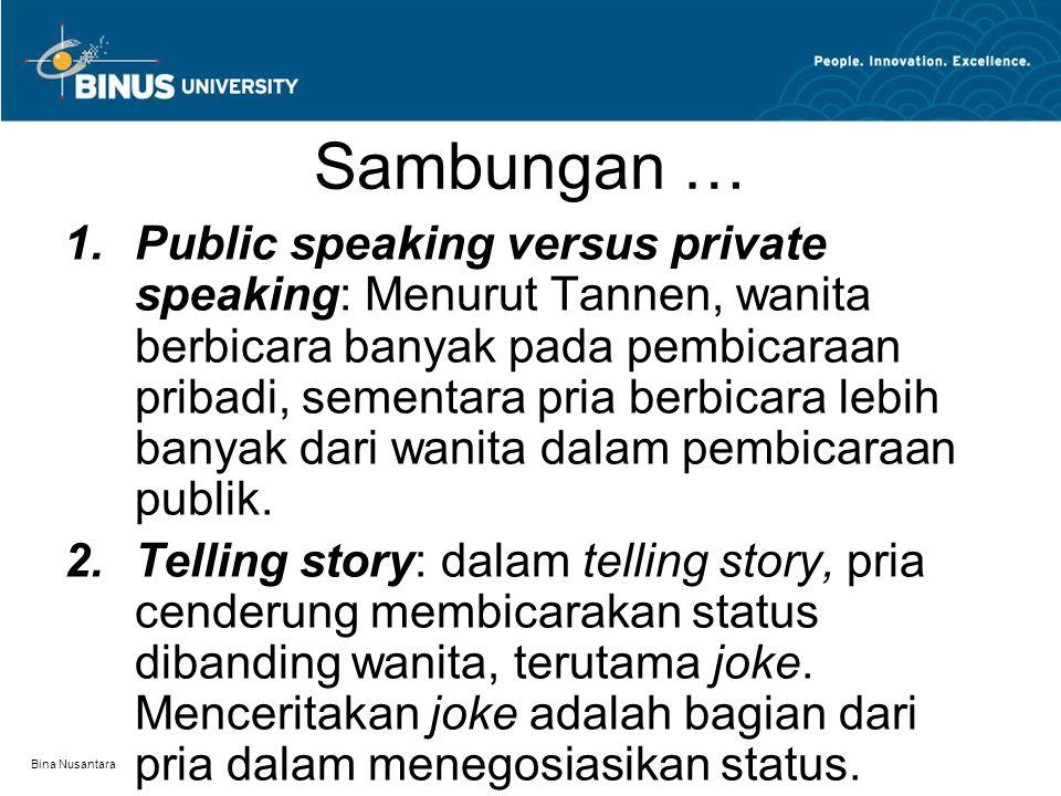 Bina Nusantara Sambungan …  Public speaking versus private speaking: Menurut Tannen, wanita berbicara banyak pada pembicaraan pribadi, sementara pri