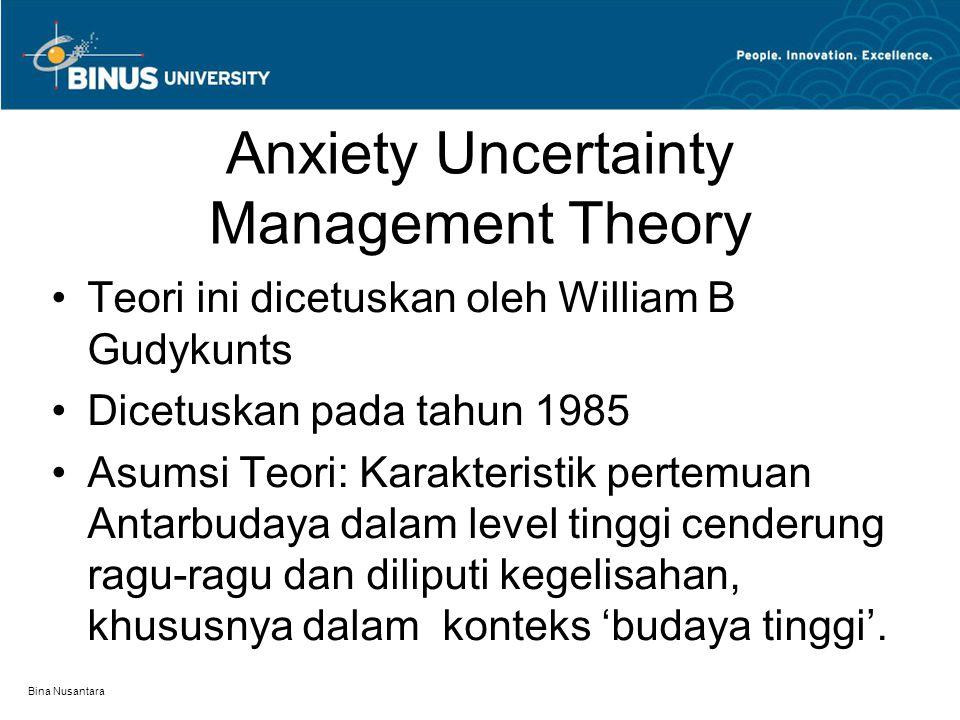 Bina Nusantara Anxiety Uncertainty Management Theory Teori ini dicetuskan oleh William B Gudykunts Dicetuskan pada tahun 1985 Asumsi Teori: Karakteris