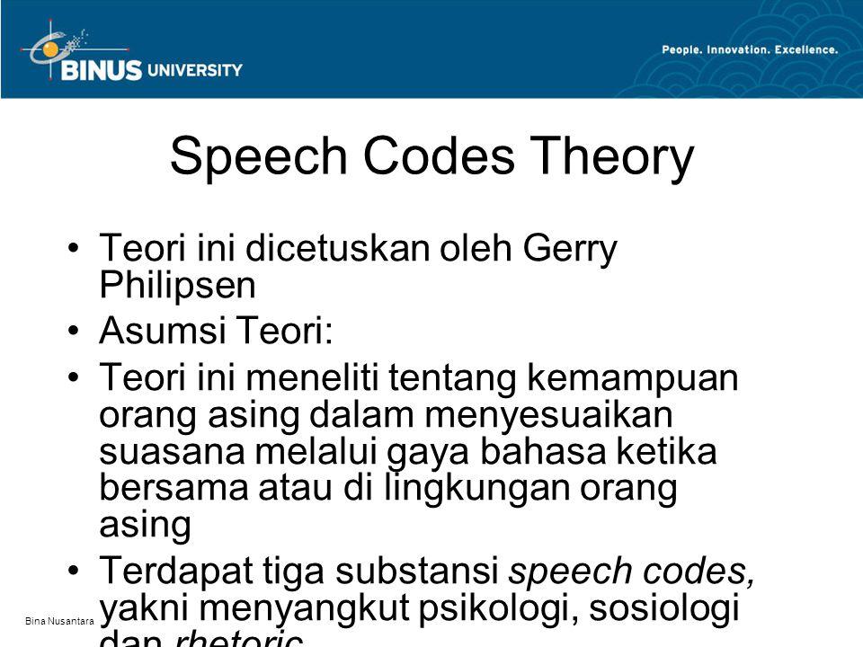 Bina Nusantara Speech Codes Theory Teori ini dicetuskan oleh Gerry Philipsen Asumsi Teori: Teori ini meneliti tentang kemampuan orang asing dalam meny