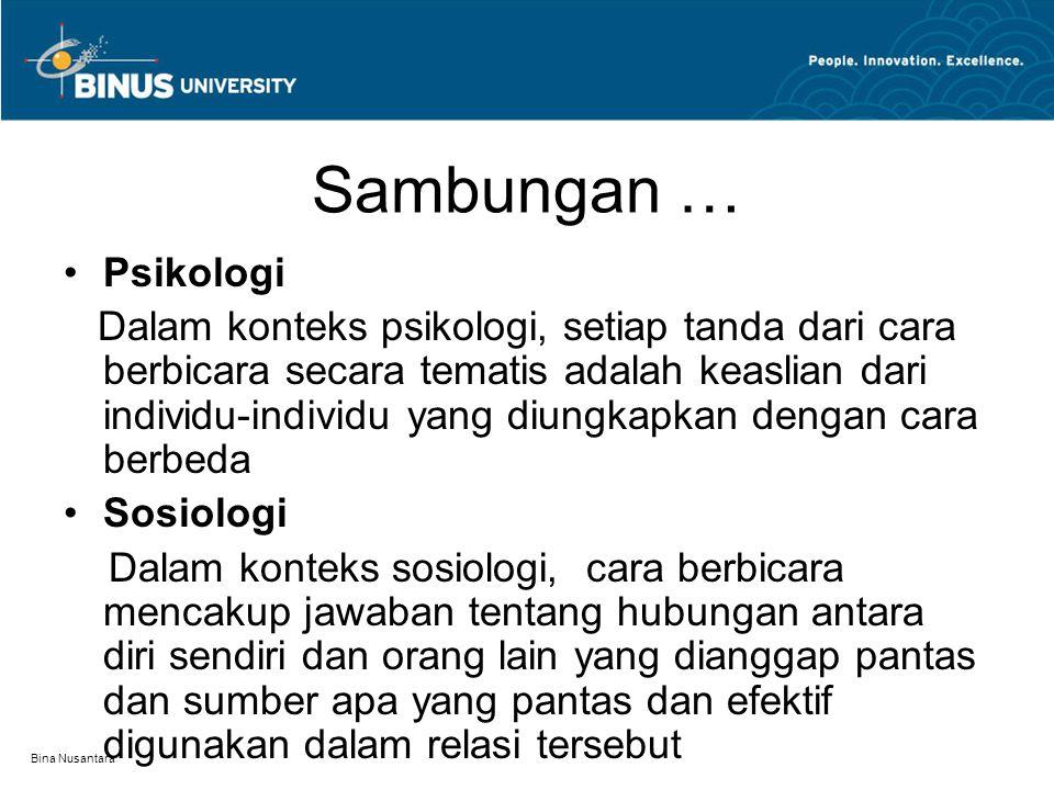 Bina Nusantara Sambungan … Psikologi Dalam konteks psikologi, setiap tanda dari cara berbicara secara tematis adalah keaslian dari individu-individu y