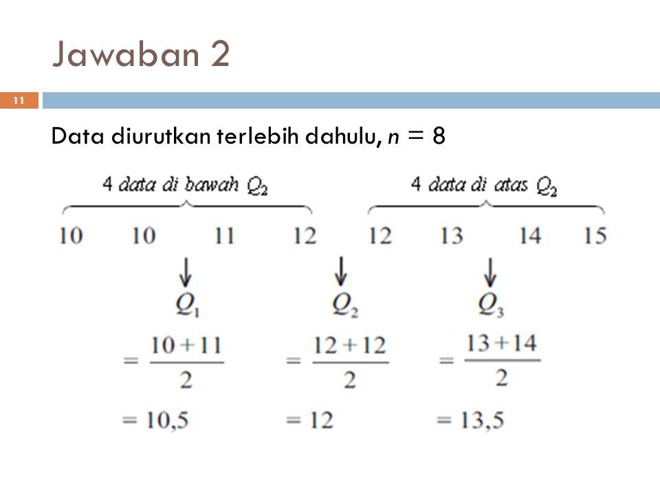 Jawaban 2 11 Data diurutkan terlebih dahulu, n = 8