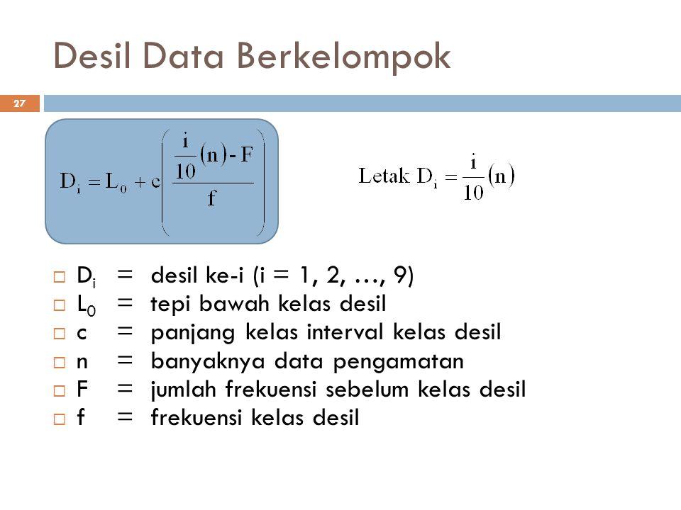 Desil Data Berkelompok 27  D i =desil ke-i (i = 1, 2, …, 9)  L 0 =tepi bawah kelas desil  c=panjang kelas interval kelas desil  n=banyaknya data p