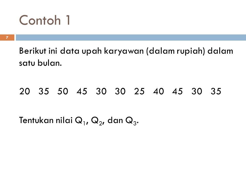 Contoh 1 7 Berikut ini data upah karyawan (dalam rupiah) dalam satu bulan. 20 35 50 45 30 30 25 40 45 30 35 Tentukan nilai Q 1, Q 2, dan Q 3.