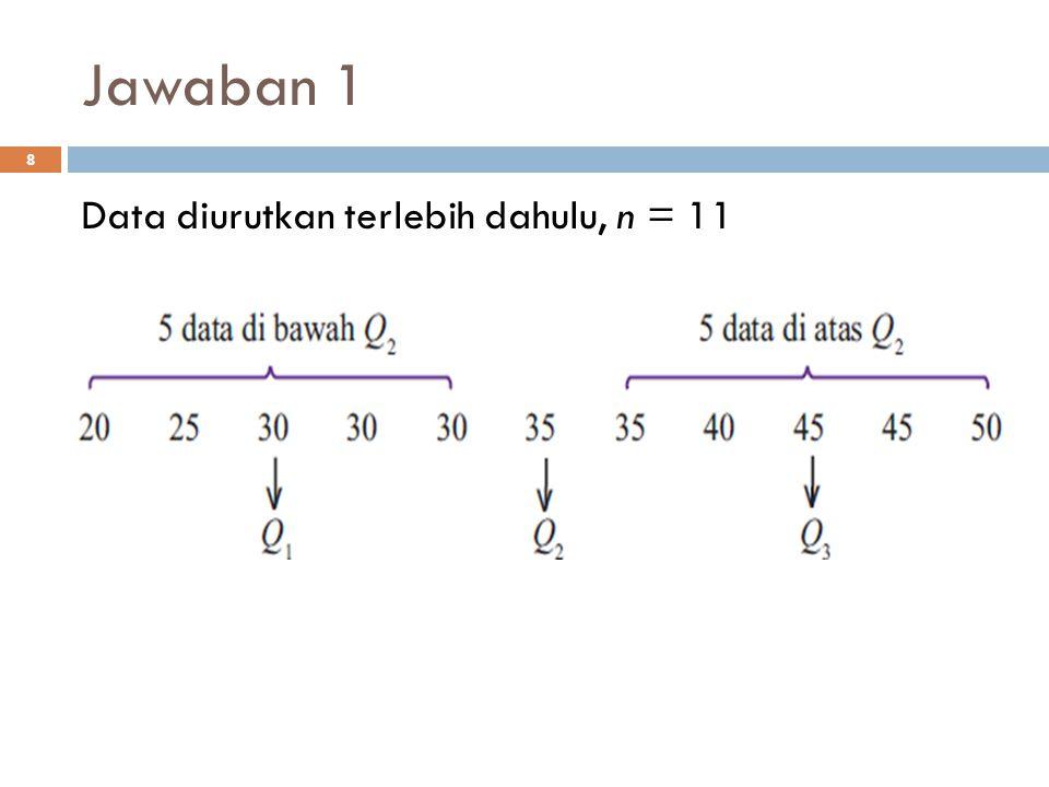 Jawaban 5 29 L 0 =98 – 0,5 = 97,5 c=98 – 93 = 5 n=50 F=2 f=10 101,5 berarti 20% dari observasi ≤ 101,5
