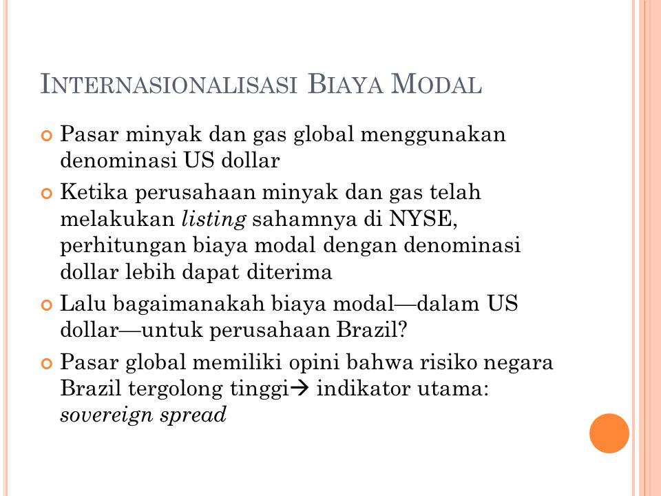 I NTERNASIONALISASI B IAYA M ODAL Pasar minyak dan gas global menggunakan denominasi US dollar Ketika perusahaan minyak dan gas telah melakukan listing sahamnya di NYSE, perhitungan biaya modal dengan denominasi dollar lebih dapat diterima Lalu bagaimanakah biaya modal—dalam US dollar—untuk perusahaan Brazil.