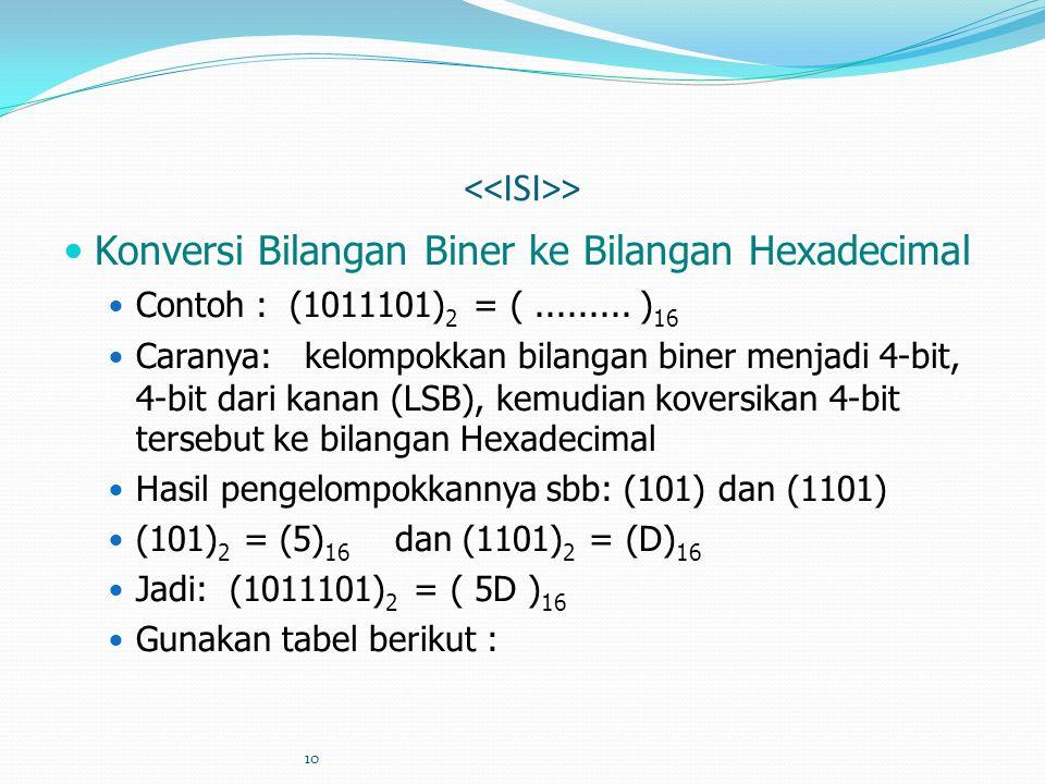 10 > Konversi Bilangan Biner ke Bilangan Hexadecimal Contoh : (1011101) 2 = (......... ) 16 Caranya: kelompokkan bilangan biner menjadi 4-bit, 4-bit d