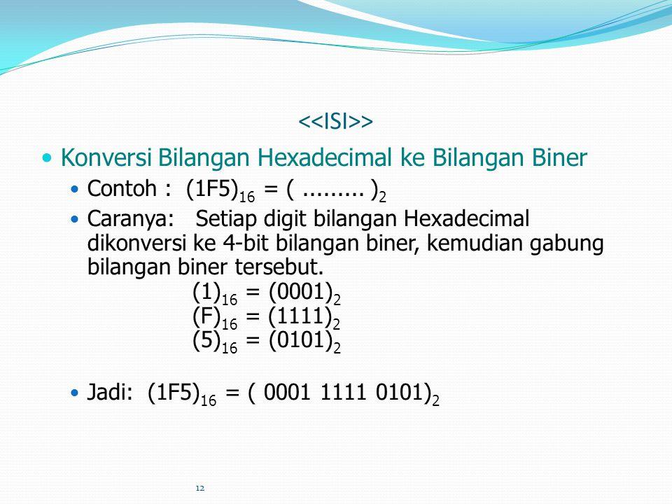 12 > Konversi Bilangan Hexadecimal ke Bilangan Biner Contoh : (1F5) 16 = (......... ) 2 Caranya: Setiap digit bilangan Hexadecimal dikonversi ke 4-bit