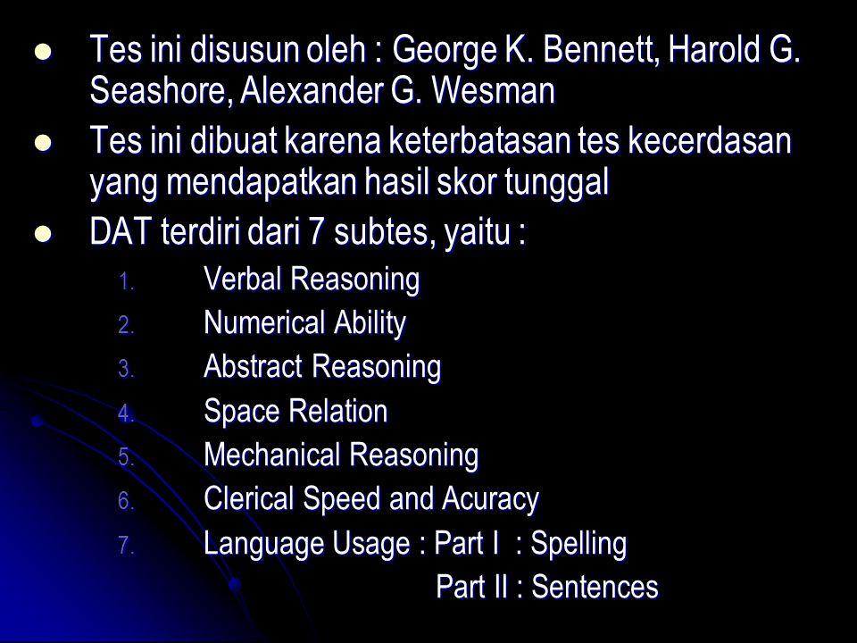 Tes ini disusun oleh : George K. Bennett, Harold G. Seashore, Alexander G. Wesman Tes ini disusun oleh : George K. Bennett, Harold G. Seashore, Alexan