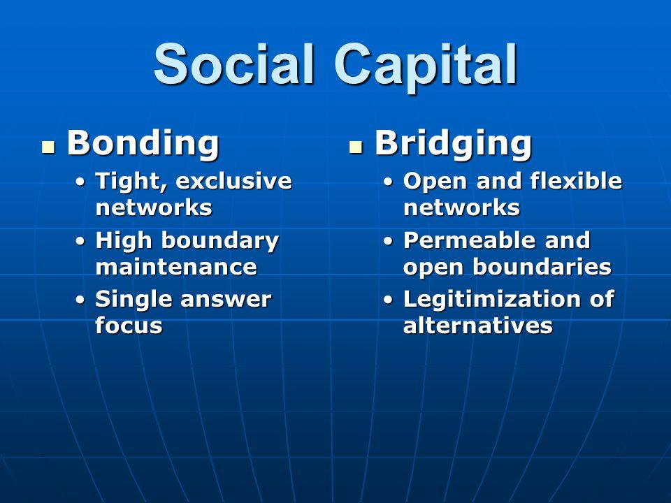 Social Capital Bonding Bonding Tight, exclusive networksTight, exclusive networks High boundary maintenanceHigh boundary maintenance Single answer foc