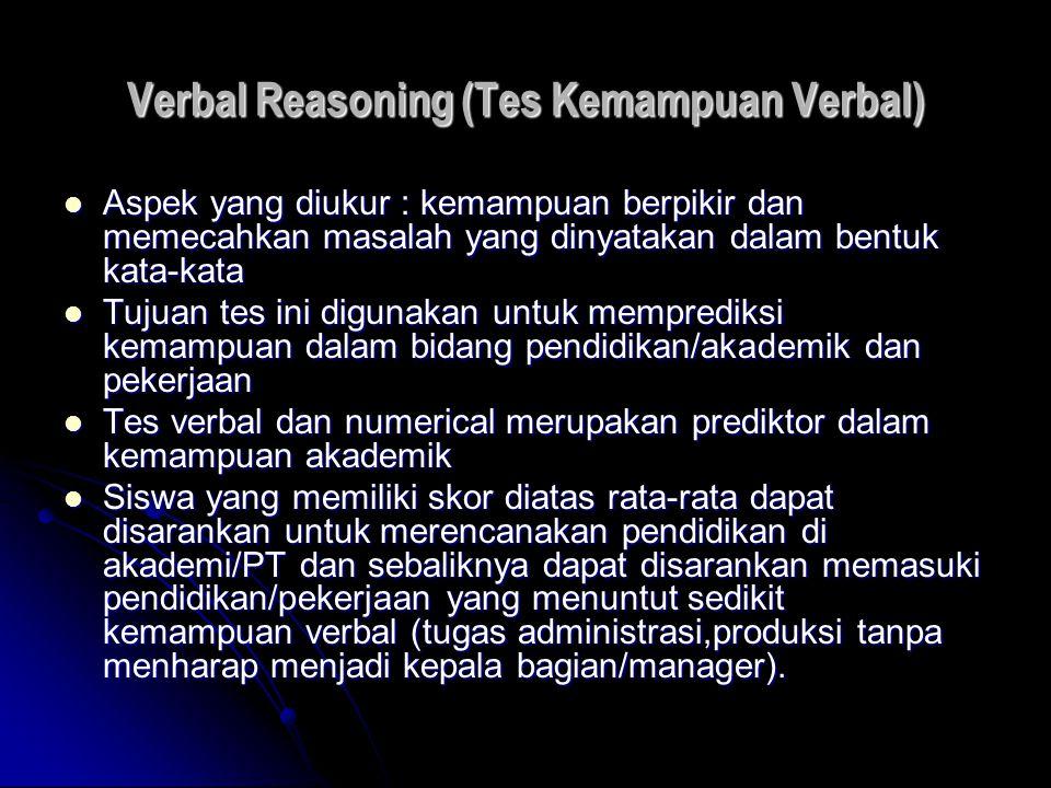 Verbal Reasoning (Tes Kemampuan Verbal) Aspek yang diukur : kemampuan berpikir dan memecahkan masalah yang dinyatakan dalam bentuk kata-kata Aspek yan