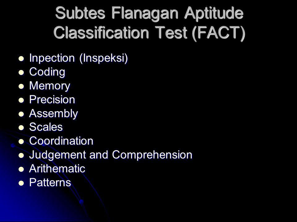 Subtes Flanagan Aptitude Classification Test (FACT) Inpection (Inspeksi) Inpection (Inspeksi) Coding Coding Memory Memory Precision Precision Assembly