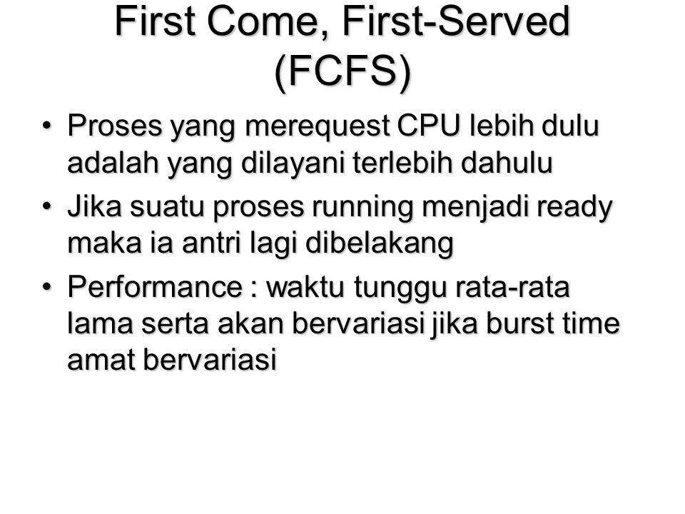First Come, First-Served (FCFS) Proses yang merequest CPU lebih dulu adalah yang dilayani terlebih dahuluProses yang merequest CPU lebih dulu adalah y