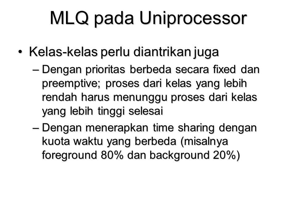 MLQ pada Uniprocessor Kelas-kelas perlu diantrikan jugaKelas-kelas perlu diantrikan juga –Dengan prioritas berbeda secara fixed dan preemptive; proses