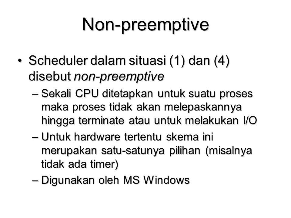 Masalah FCFS : Convoy Effect Kondisi terdapat suatu proses yang memiliki CPU-burst time besar (CPU bound) dan sejumlah proses lain dengan I/O burst time yang besar (I/O bound)Kondisi terdapat suatu proses yang memiliki CPU-burst time besar (CPU bound) dan sejumlah proses lain dengan I/O burst time yang besar (I/O bound) –Proses CPU bound sedang hold CPU proses I/O bound menunggu, I/O device idle –Proses I/O bound sedang melakukan I/O, proses CPU bound menunggu, CPU idle