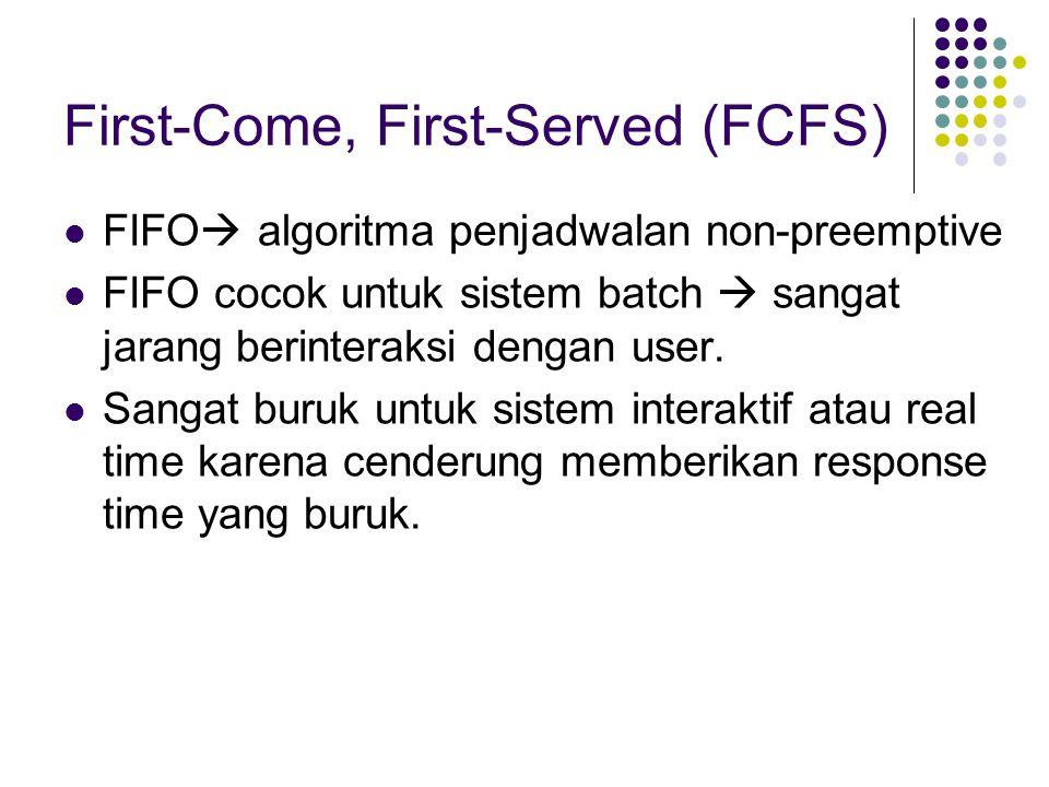 First-Come, First-Served (FCFS) FIFO  algoritma penjadwalan non-preemptive FIFO cocok untuk sistem batch  sangat jarang berinteraksi dengan user. Sa