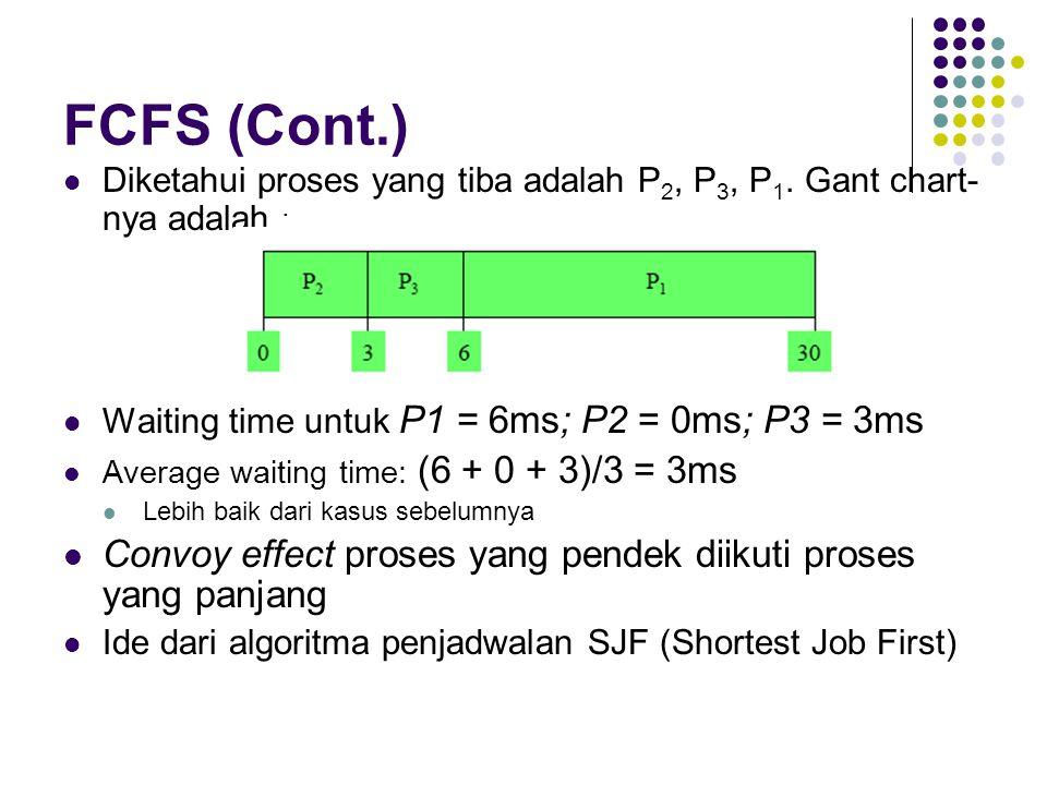 FCFS (Cont.) Diketahui proses yang tiba adalah P 2, P 3, P 1. Gant chart- nya adalah : Waiting time untuk P1 = 6ms; P2 = 0ms; P3 = 3ms Average waiting