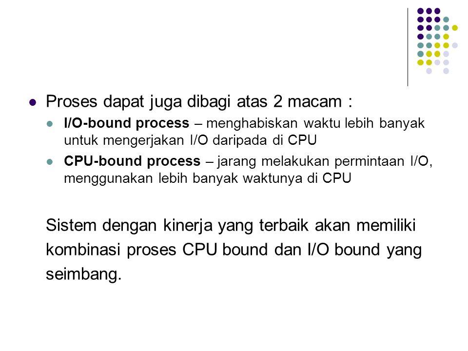 Proses dapat juga dibagi atas 2 macam : I/O-bound process – menghabiskan waktu lebih banyak untuk mengerjakan I/O daripada di CPU CPU-bound process –