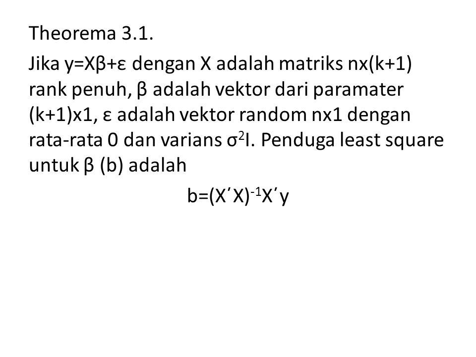 Theorema 3.1. Jika y=Xβ+ε dengan X adalah matriks nx(k+1) rank penuh, β adalah vektor dari paramater (k+1)x1, ε adalah vektor random nx1 dengan rata-r