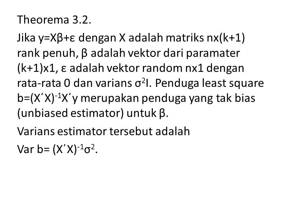 Theorema 3.2. Jika y=Xβ+ε dengan X adalah matriks nx(k+1) rank penuh, β adalah vektor dari paramater (k+1)x1, ε adalah vektor random nx1 dengan rata-r