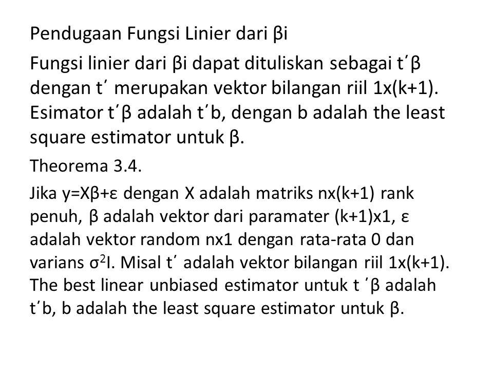 Pendugaan Fungsi Linier dari βi Fungsi linier dari βi dapat dituliskan sebagai t΄β dengan t΄ merupakan vektor bilangan riil 1x(k+1).