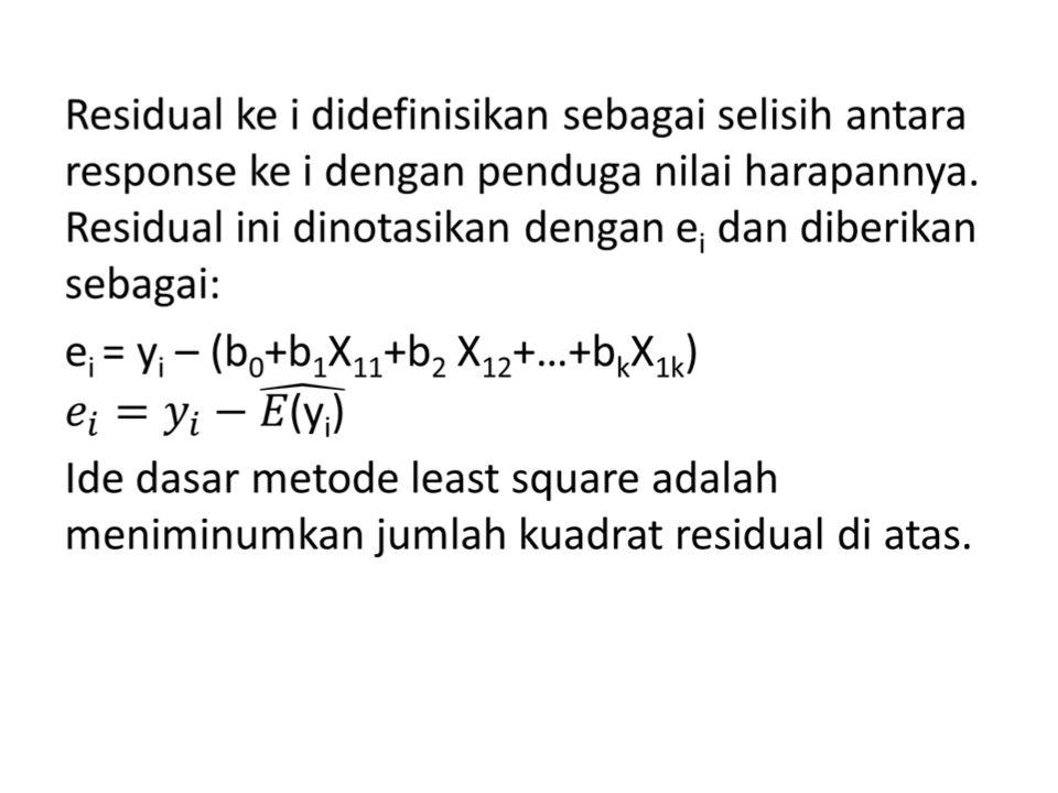 Untuk mendapatkan estimator dari parameter- parameter dalam model, pertama kita nyatakan response dalam bentuk residual sebagai berikut: y 1 =b 0 + b 1 X 11 + b 2 X 12 +…+b k X 1k + e 1 y 2 =b 0 + b 1 X 21 + b 2 X 22 +…+b k X 2k + e 2.