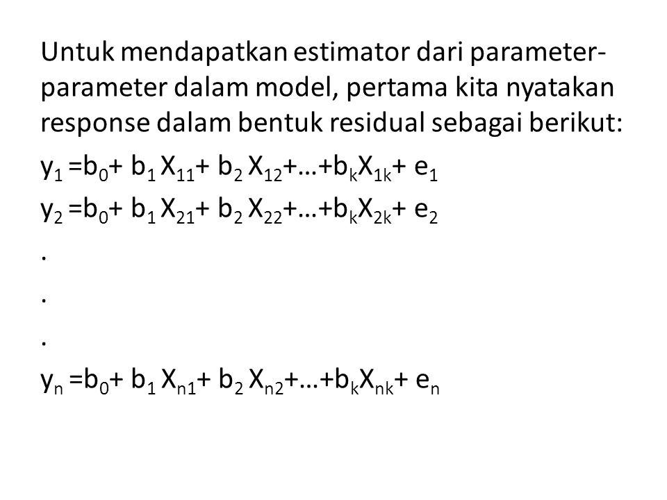 Untuk mendapatkan estimator dari parameter- parameter dalam model, pertama kita nyatakan response dalam bentuk residual sebagai berikut: y 1 =b 0 + b