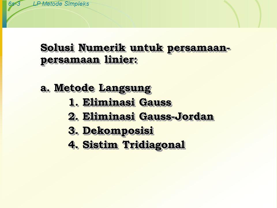 6s-3LP Metode Simpleks Solusi Numerik untuk persamaan- persamaan linier: a.