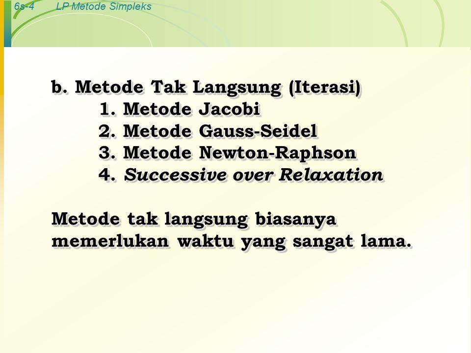6s-4LP Metode Simpleks b. Metode Tak Langsung (Iterasi) 1.