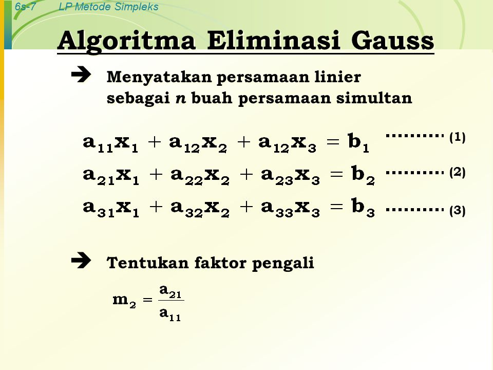 6s-7LP Metode Simpleks Algoritma Eliminasi Gauss  Menyatakan persamaan linier sebagai n buah persamaan simultan  Tentukan faktor pengali Algoritma Eliminasi Gauss  Menyatakan persamaan linier sebagai n buah persamaan simultan  Tentukan faktor pengali (1) (2) (3)