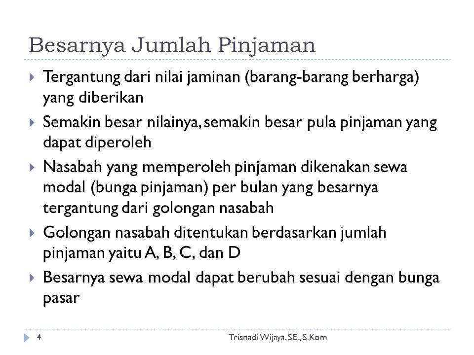 Besarnya Jumlah Pinjaman Trisnadi Wijaya, SE., S.Kom4  Tergantung dari nilai jaminan (barang-barang berharga) yang diberikan  Semakin besar nilainya
