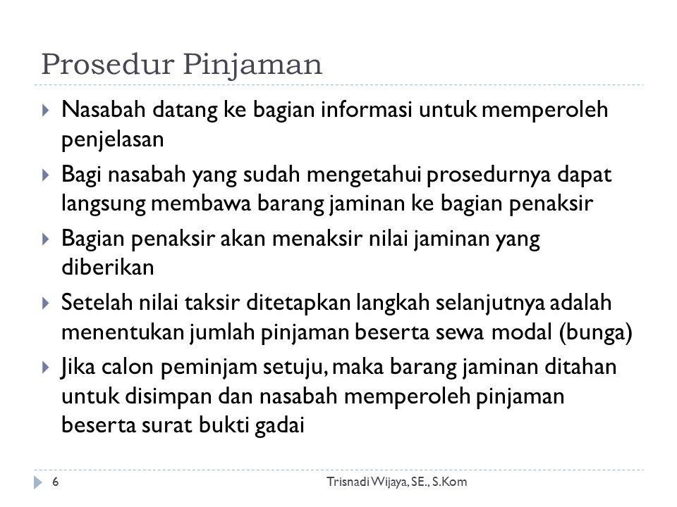 Prosedur Pinjaman Trisnadi Wijaya, SE., S.Kom6  Nasabah datang ke bagian informasi untuk memperoleh penjelasan  Bagi nasabah yang sudah mengetahui p