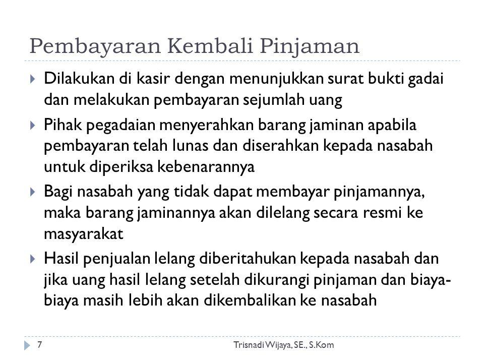 Pembayaran Kembali Pinjaman Trisnadi Wijaya, SE., S.Kom7  Dilakukan di kasir dengan menunjukkan surat bukti gadai dan melakukan pembayaran sejumlah u