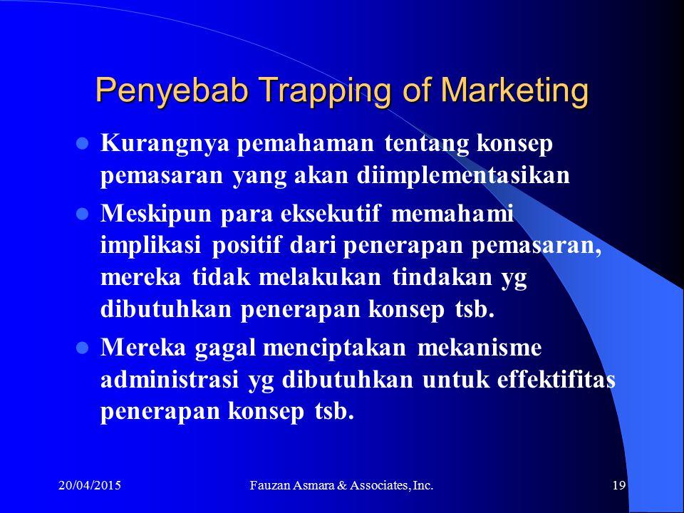 Persh. seolah-olah sudah mengimplementasi konsep pemasaran (Trapping of Marketing), jika: (Ames, 1970) Sudah diungkap oleh Top Manajemen dlm pidato at