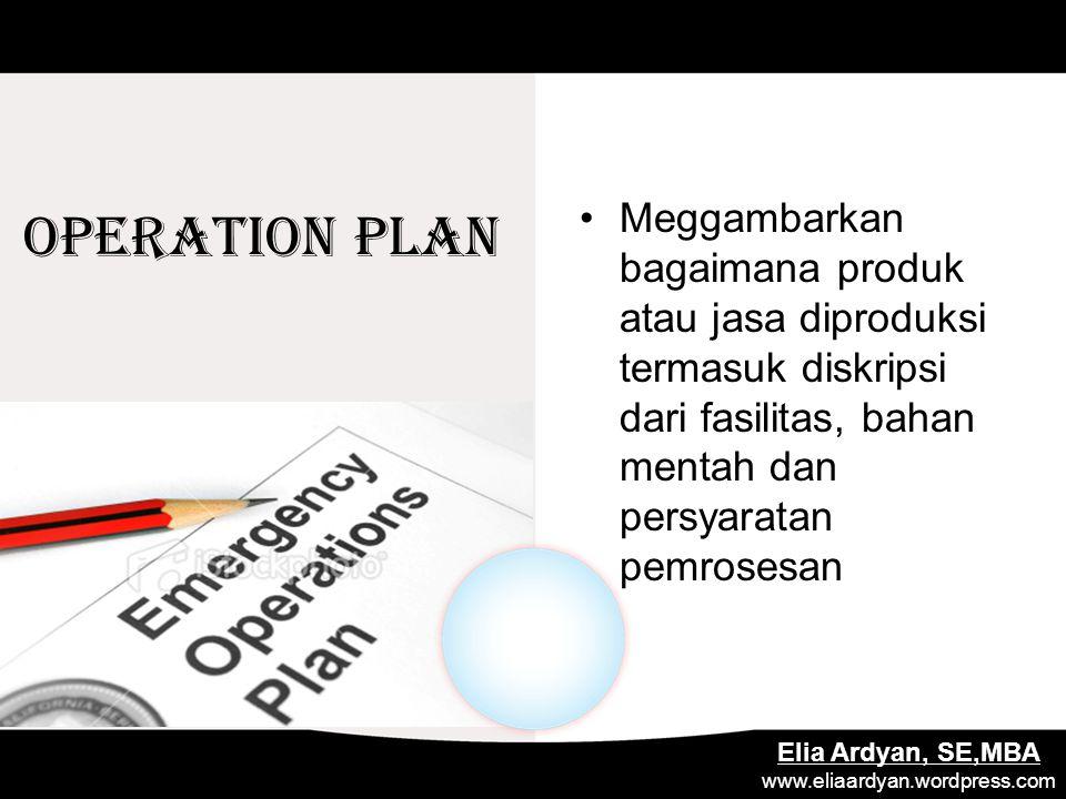 OPERATION PLAN Meggambarkan bagaimana produk atau jasa diproduksi termasuk diskripsi dari fasilitas, bahan mentah dan persyaratan pemrosesan Elia Ardy