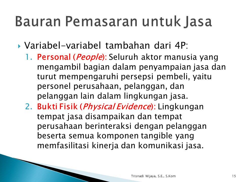  Variabel-variabel tambahan dari 4P: 1.Personal (People): Seluruh aktor manusia yang mengambil bagian dalam penyampaian jasa dan turut mempengaruhi persepsi pembeli, yaitu personel perusahaan, pelanggan, dan pelanggan lain dalam lingkungan jasa.