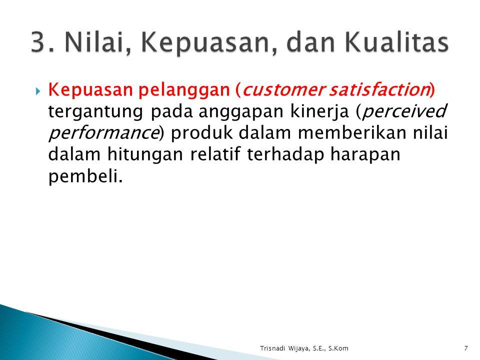  Kepuasan pelanggan (customer satisfaction) tergantung pada anggapan kinerja (perceived performance) produk dalam memberikan nilai dalam hitungan rel