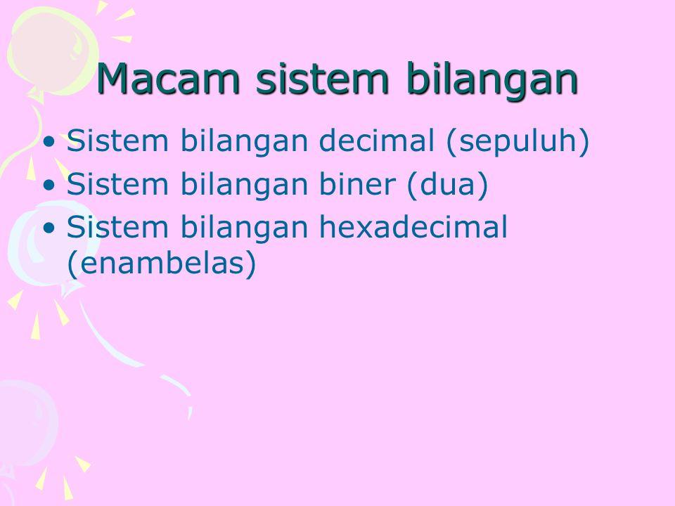 sistem bilangan biner (binary number) Karena hanya memiliki 2 angka dasar, yaitu 0 dan 1..