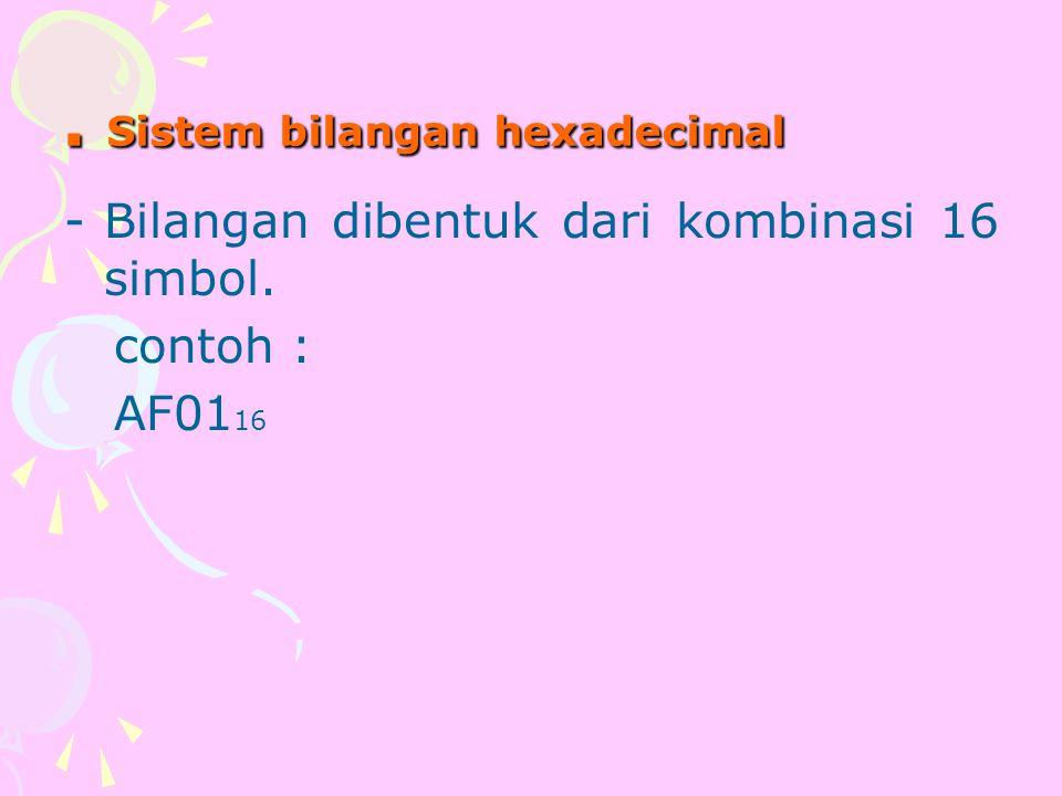 . Sistem bilangan hexadecimal -Bilangan dibentuk dari kombinasi 16 simbol. contoh : AF01 16