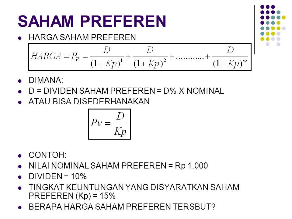 SAHAM PREFEREN HARGA SAHAM PREFEREN DIMANA: D = DIVIDEN SAHAM PREFEREN = D% X NOMINAL ATAU BISA DISEDERHANAKAN CONTOH: NILAI NOMINAL SAHAM PREFEREN =