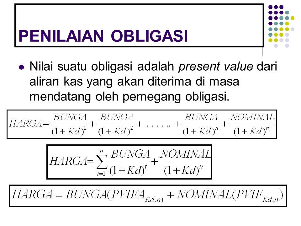 PENILAIAN OBLIGASI Nilai suatu obligasi adalah present value dari aliran kas yang akan diterima di masa mendatang oleh pemegang obligasi.