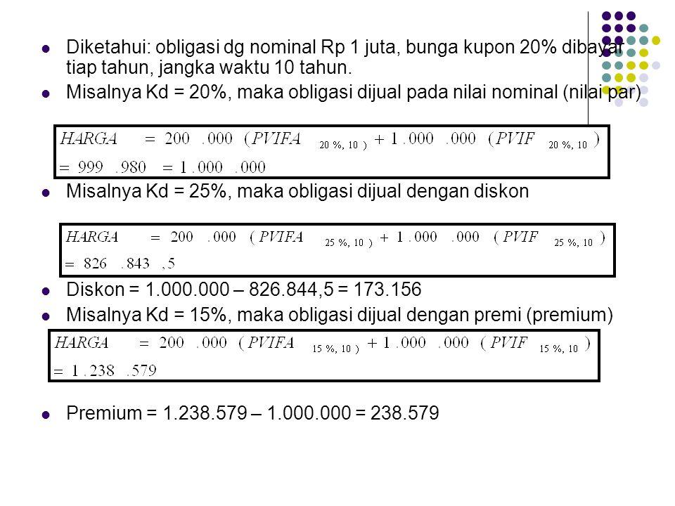 Diketahui: obligasi dg nominal Rp 1 juta, bunga kupon 20% dibayar tiap tahun, jangka waktu 10 tahun. Misalnya Kd = 20%, maka obligasi dijual pada nila