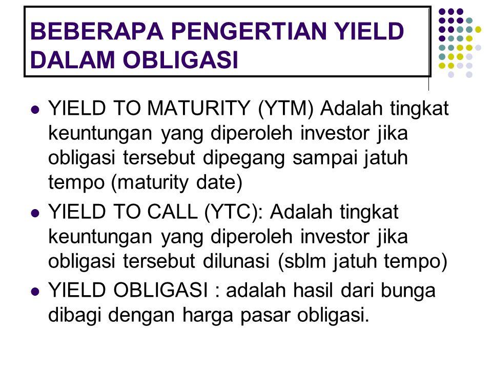 BEBERAPA PENGERTIAN YIELD DALAM OBLIGASI YIELD TO MATURITY (YTM) Adalah tingkat keuntungan yang diperoleh investor jika obligasi tersebut dipegang sam