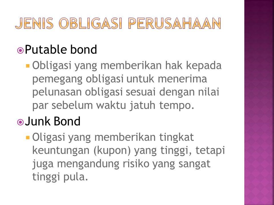  Putable bond  Obligasi yang memberikan hak kepada pemegang obligasi untuk menerima pelunasan obligasi sesuai dengan nilai par sebelum waktu jatuh t