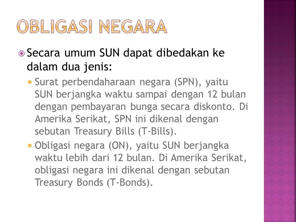  Secara umum SUN dapat dibedakan ke dalam dua jenis:  Surat perbendaharaan negara (SPN), yaitu SUN berjangka waktu sampai dengan 12 bulan dengan pem