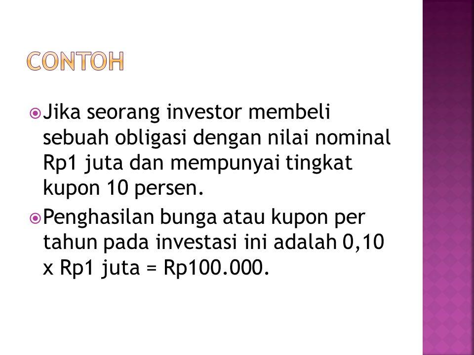  Jika seorang investor membeli sebuah obligasi dengan nilai nominal Rp1 juta dan mempunyai tingkat kupon 10 persen.  Penghasilan bunga atau kupon pe