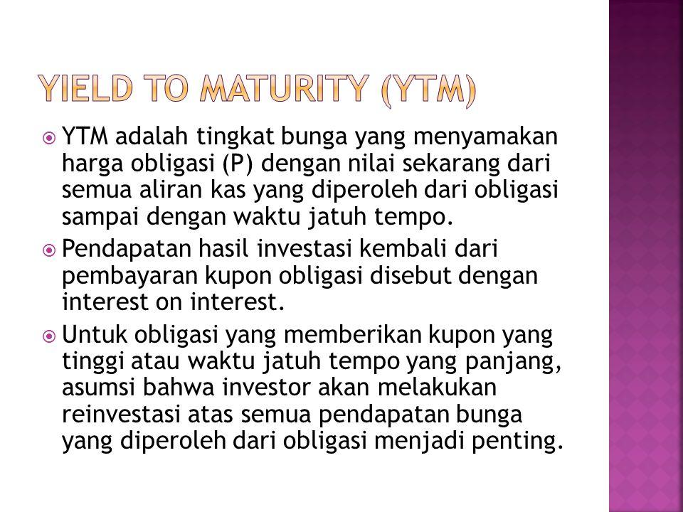 YTM adalah tingkat bunga yang menyamakan harga obligasi (P) dengan nilai sekarang dari semua aliran kas yang diperoleh dari obligasi sampai dengan w