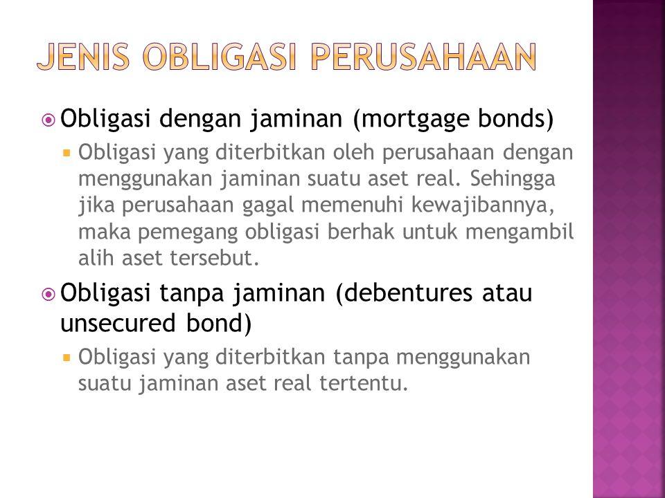  Obligasi dengan jaminan (mortgage bonds)  Obligasi yang diterbitkan oleh perusahaan dengan menggunakan jaminan suatu aset real. Sehingga jika perus