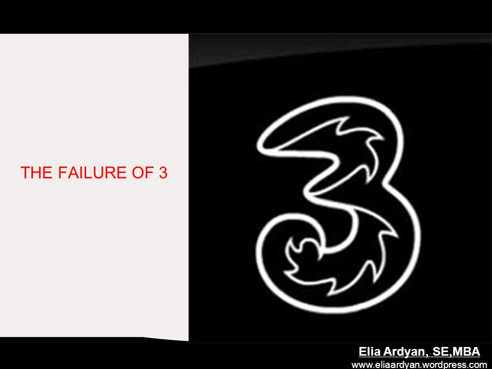THE FAILURE OF 3 Elia Ardyan, SE,MBA www.eliaardyan.wordpress.com
